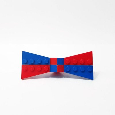 Blue and red small bowtie
