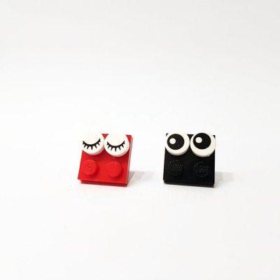Eye brick pins handmade from legos