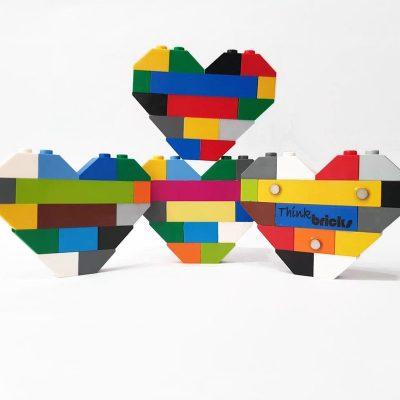 Colorful brick heart magnets