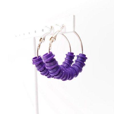 Dark purple brick hoop earrings made from lego bricks