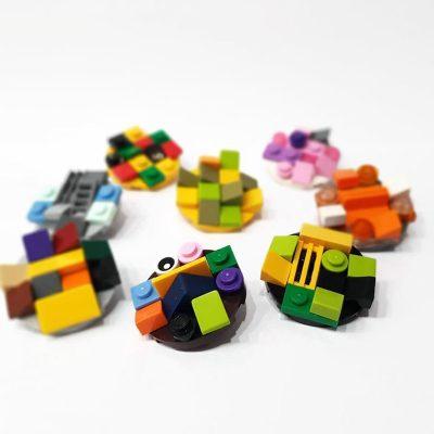 Playful brick round brooches