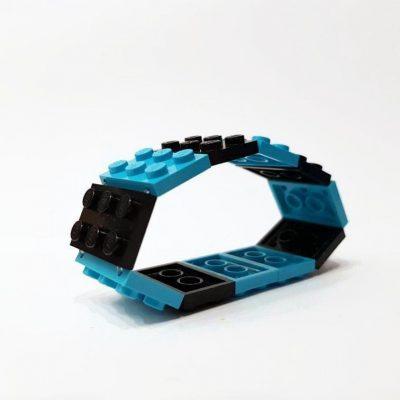 Medium Azure and black bracelet from lego bricks