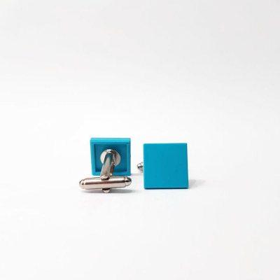 Medium azure Brick tile cufflinks