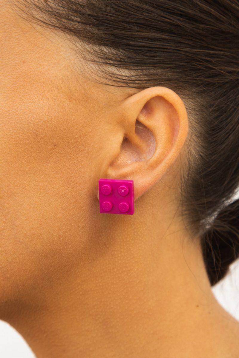 Magenta brick square earrings for geek girls