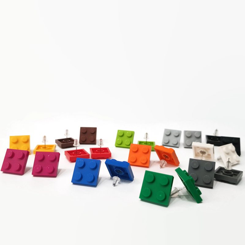 colorful square geeky brick earrings