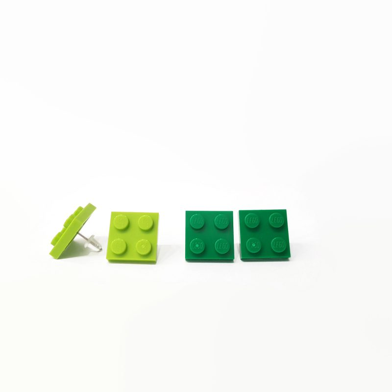 Lime and green stud earrings from plastic blocks