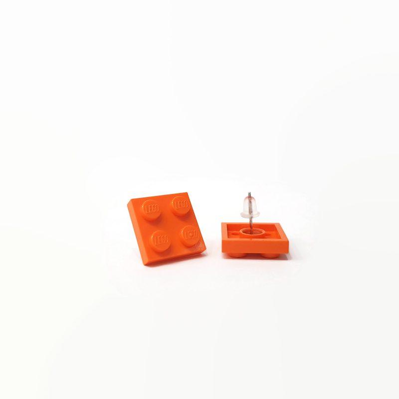 Orange Square geeky brick earrings