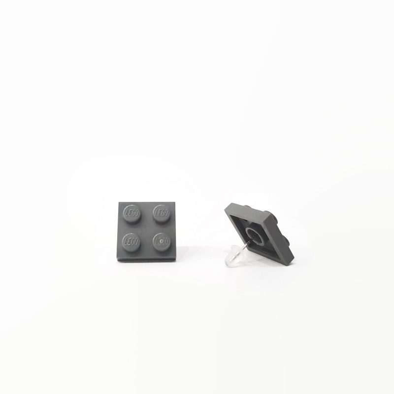 dark gray brick earrings for her