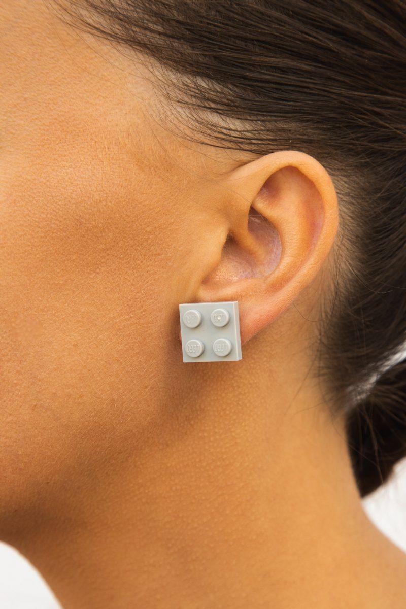 Square geeky brick earrings
