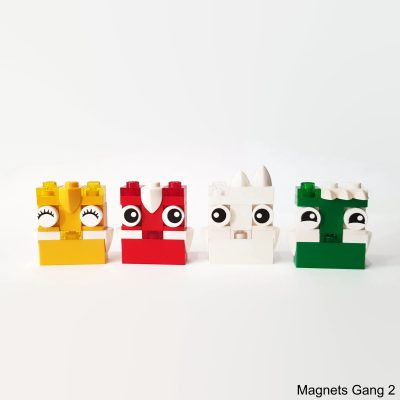 colorful magnets made from building bricks