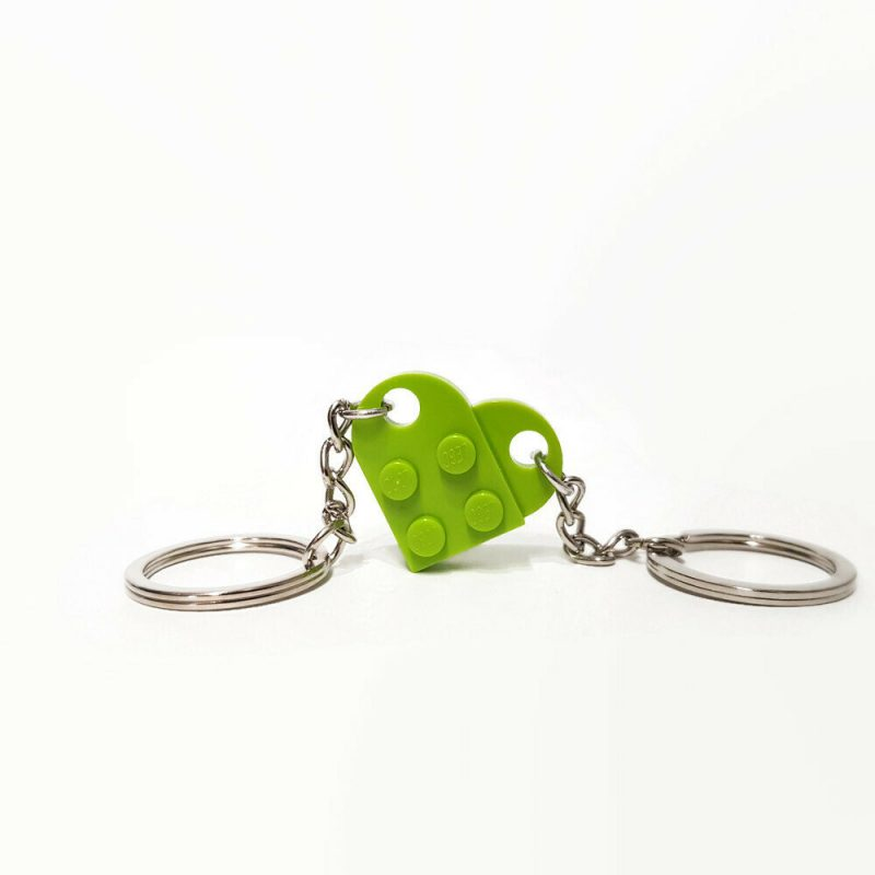 Lime heart keychain made from lego bricks