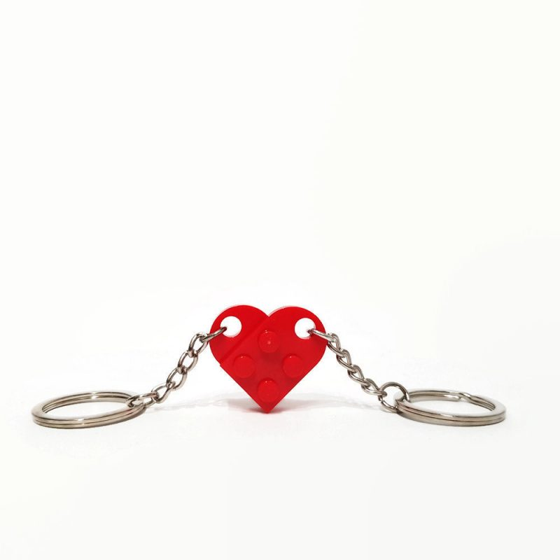 Red heart key chain for couples
