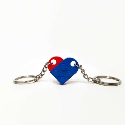 Blue and red heart double keyring from building bricks
