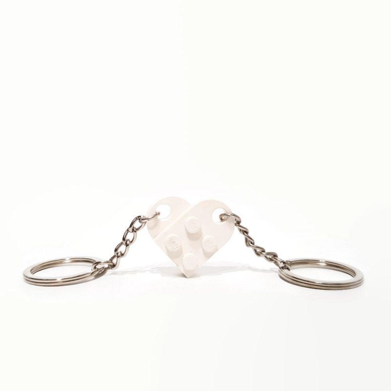 white heart douple keyring