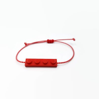 Red march bracelet made from lego bricks