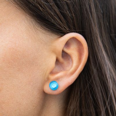 Blue round lego earrings transparent