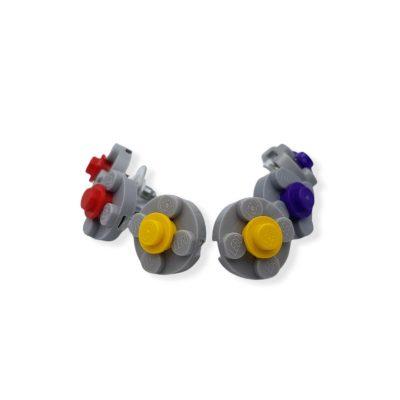 Lego earrings flower shape gray base